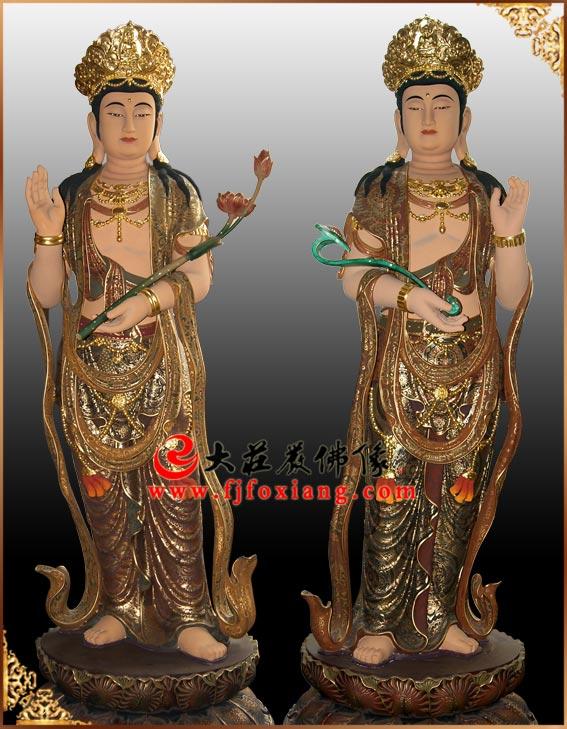 铜雕彩绘释迦三尊