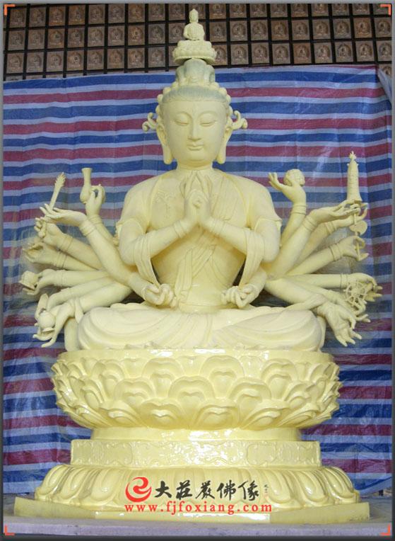 准提菩萨贴金铜雕像