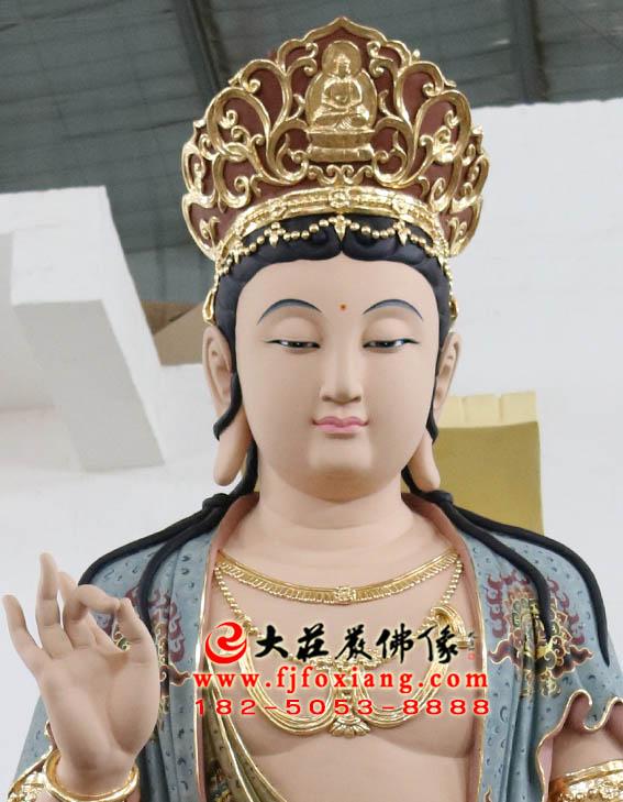 文殊菩萨彩绘塑像