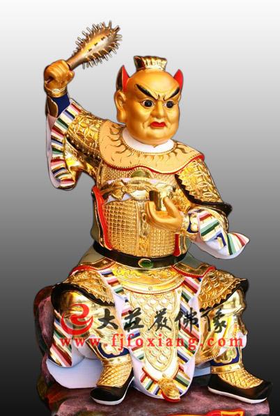 监斋菩萨木雕彩绘贴金像