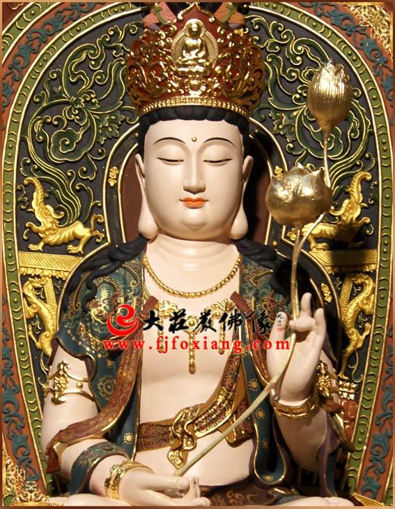 铜雕彩绘华严三圣坐像