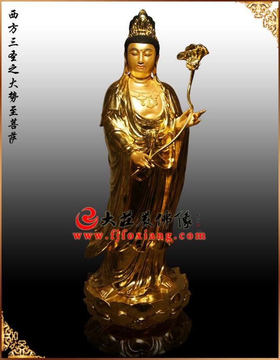 铜雕贴金三圣站立像
