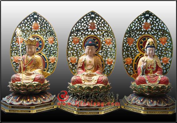 木雕彩绘娑婆三圣