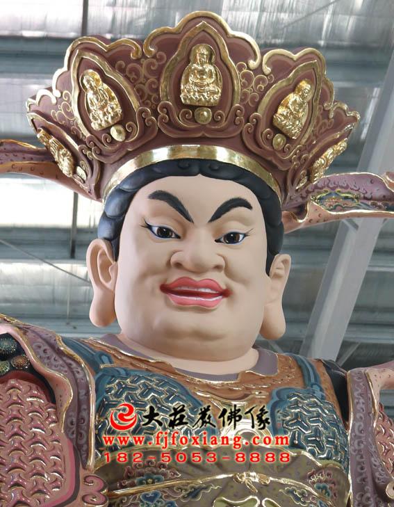彩绘描金东方持国天王塑像