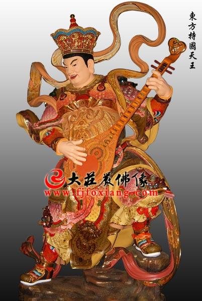 铜雕彩绘四大天王之东方持国天王