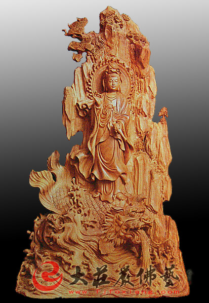 木雕骑龙观音