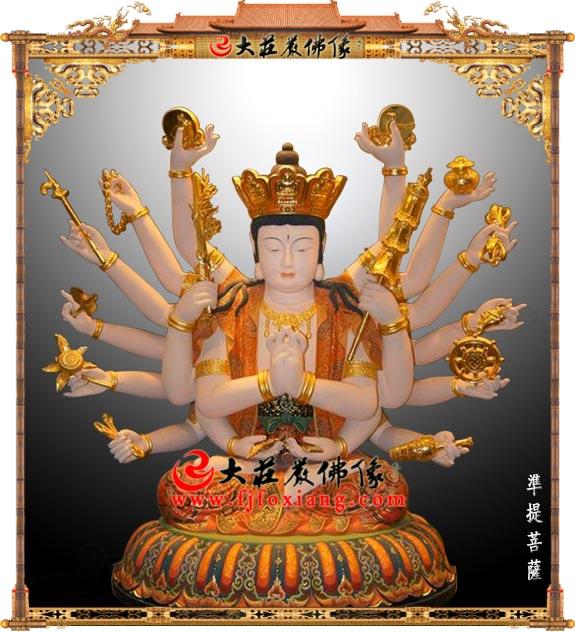 铜雕彩绘准提菩萨佛像