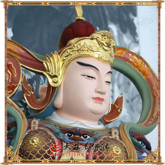 铜雕彩绘韦驮护法神像