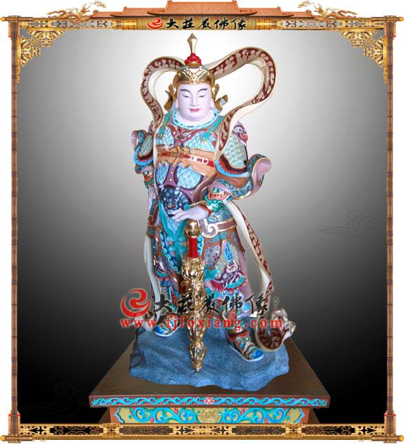 玻璃钢彩绘韦驮护法神像【2221】