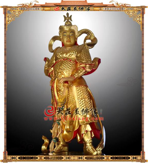 贴金韦陀护法神像