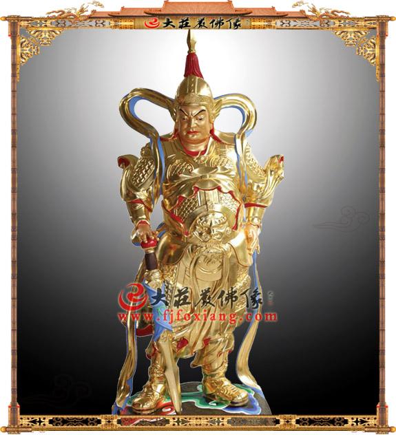 铜雕贴金韦陀护法神像【2225】