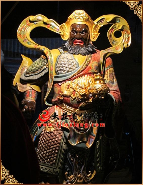 铜雕彩绘赵公明武财神站像