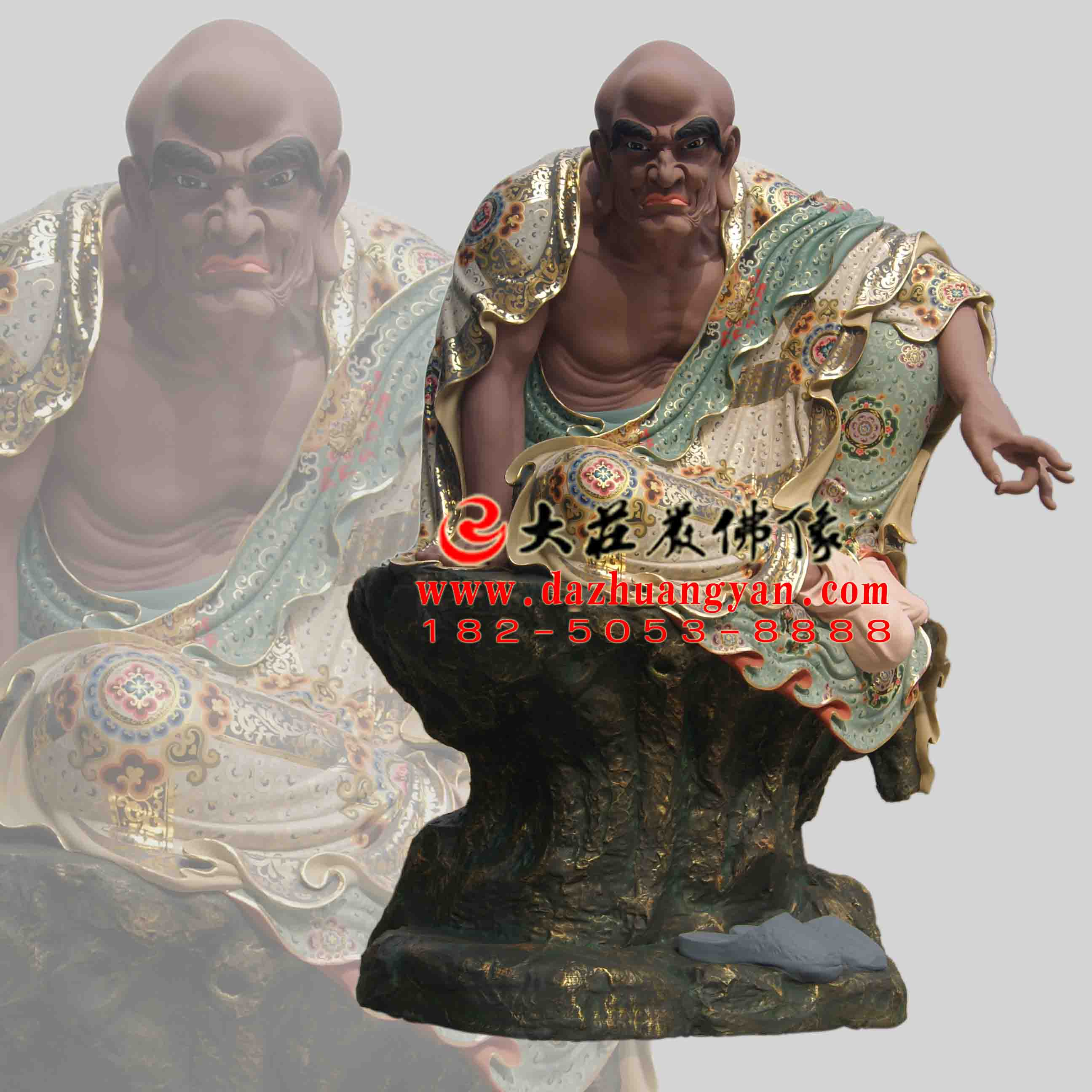 因竭陀尊者生漆脱胎彩绘佛像【201822】