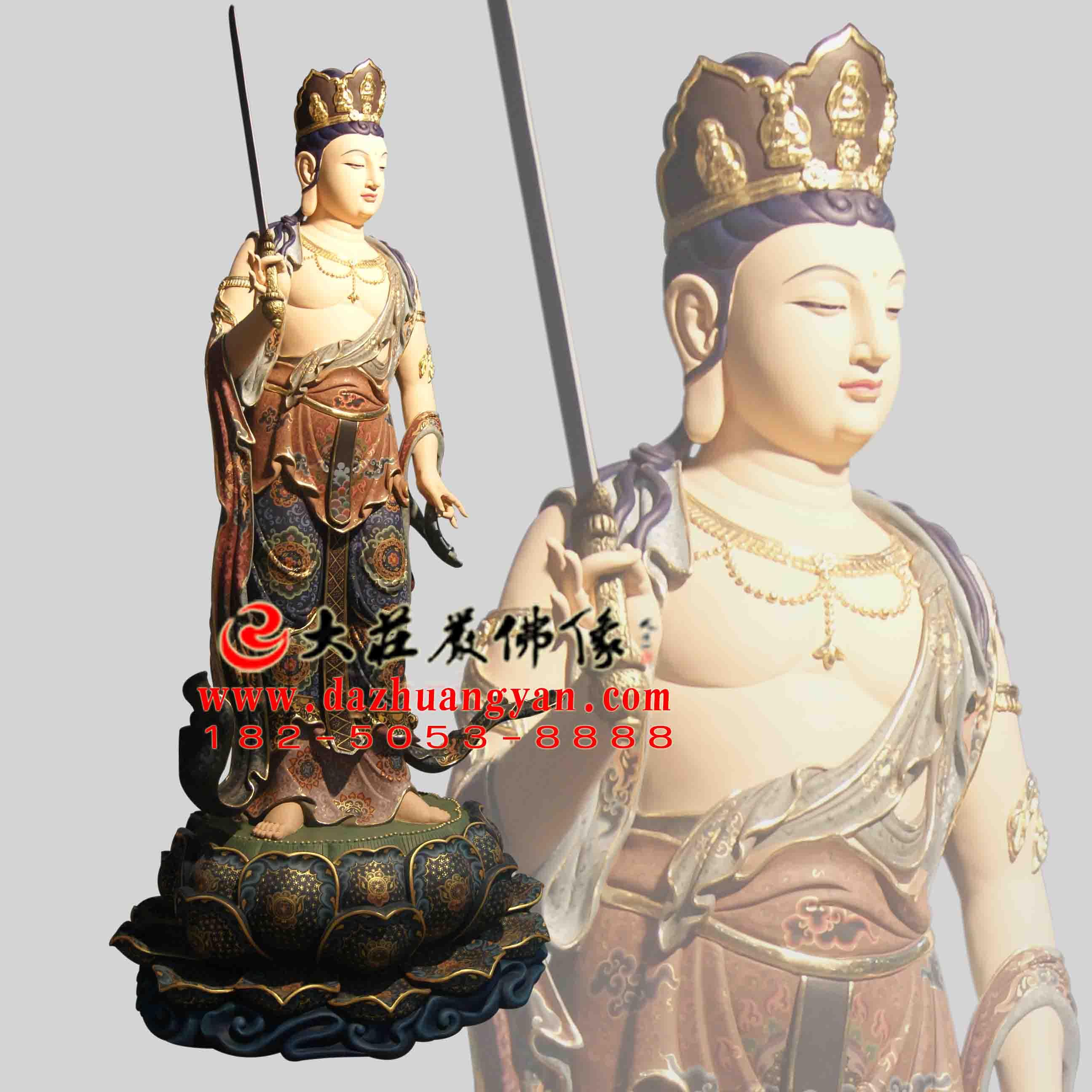 生漆脱胎八大菩萨之普贤菩萨彩绘佛像【1707】