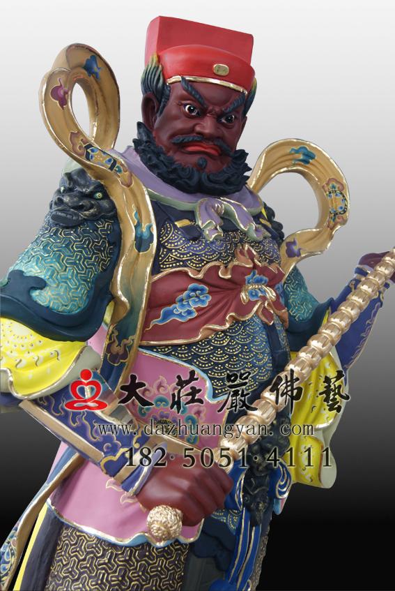 赵公明彩绘侧面神像