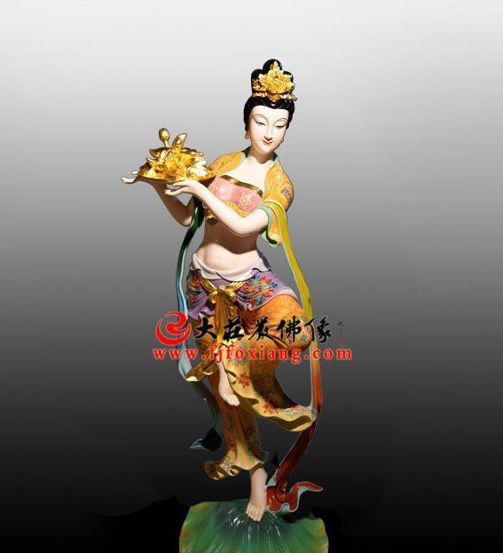 生漆脱胎牡丹仙子彩绘神像