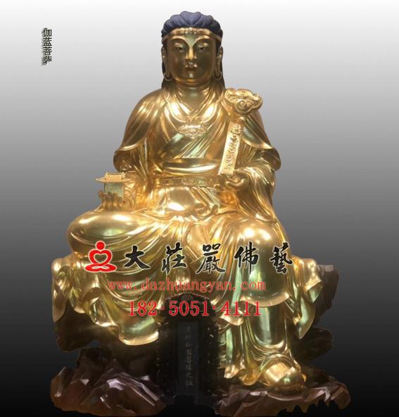 祇陀太子-伽蓝菩萨贴金塑像