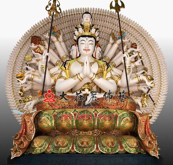 <b>彩绘脱胎千手观音佛像 西方三圣观音雕塑定制</b>