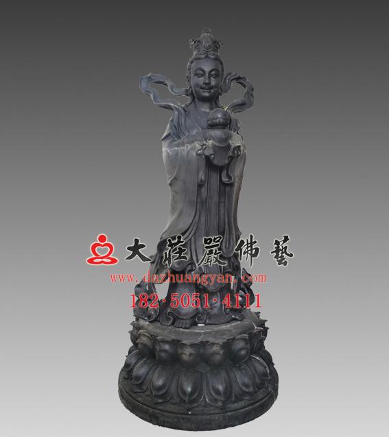 生漆脱胎龙女雕塑 观音右胁待龙女佛像定制厂家