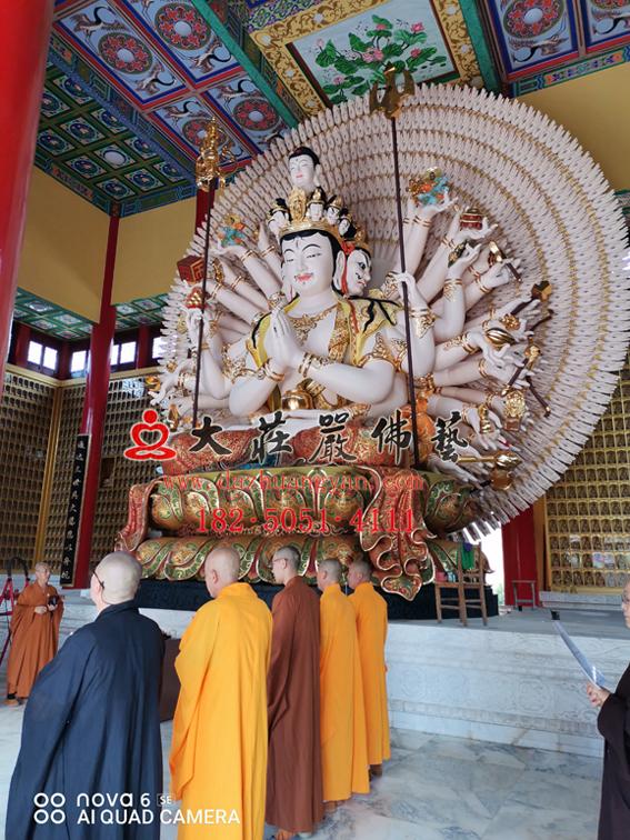 佛像定制 义净寺脱胎千手观音安装现场过程实拍