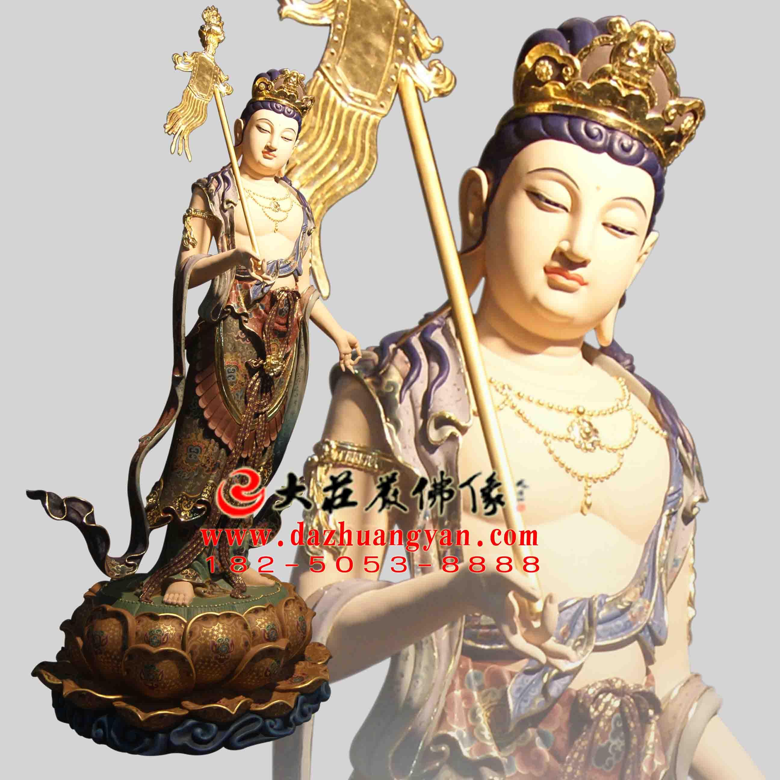 生漆脱胎八大菩萨之除盖障菩萨彩绘塑像【170