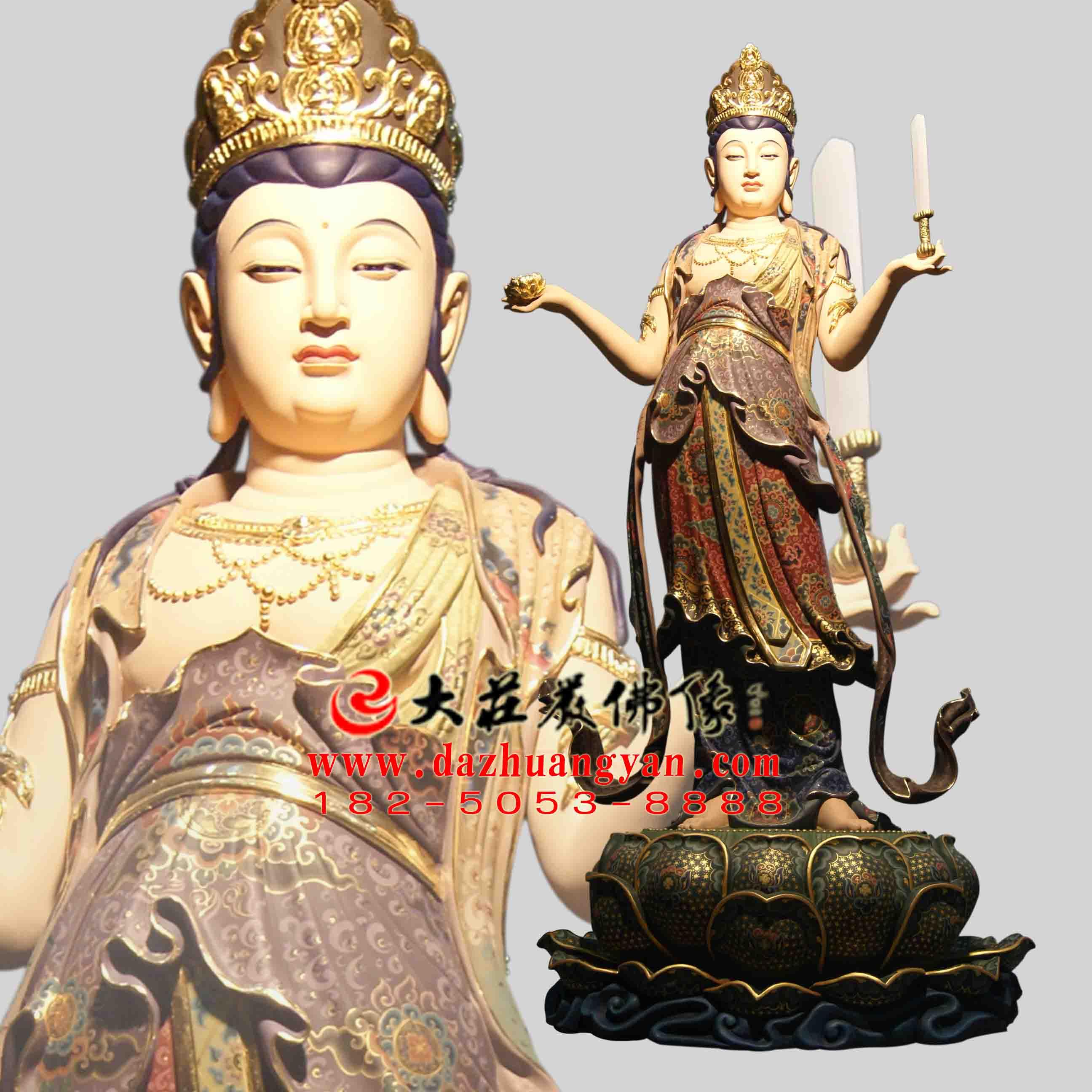 生漆脱胎八大菩萨之文殊菩萨彩绘塑像【1701】