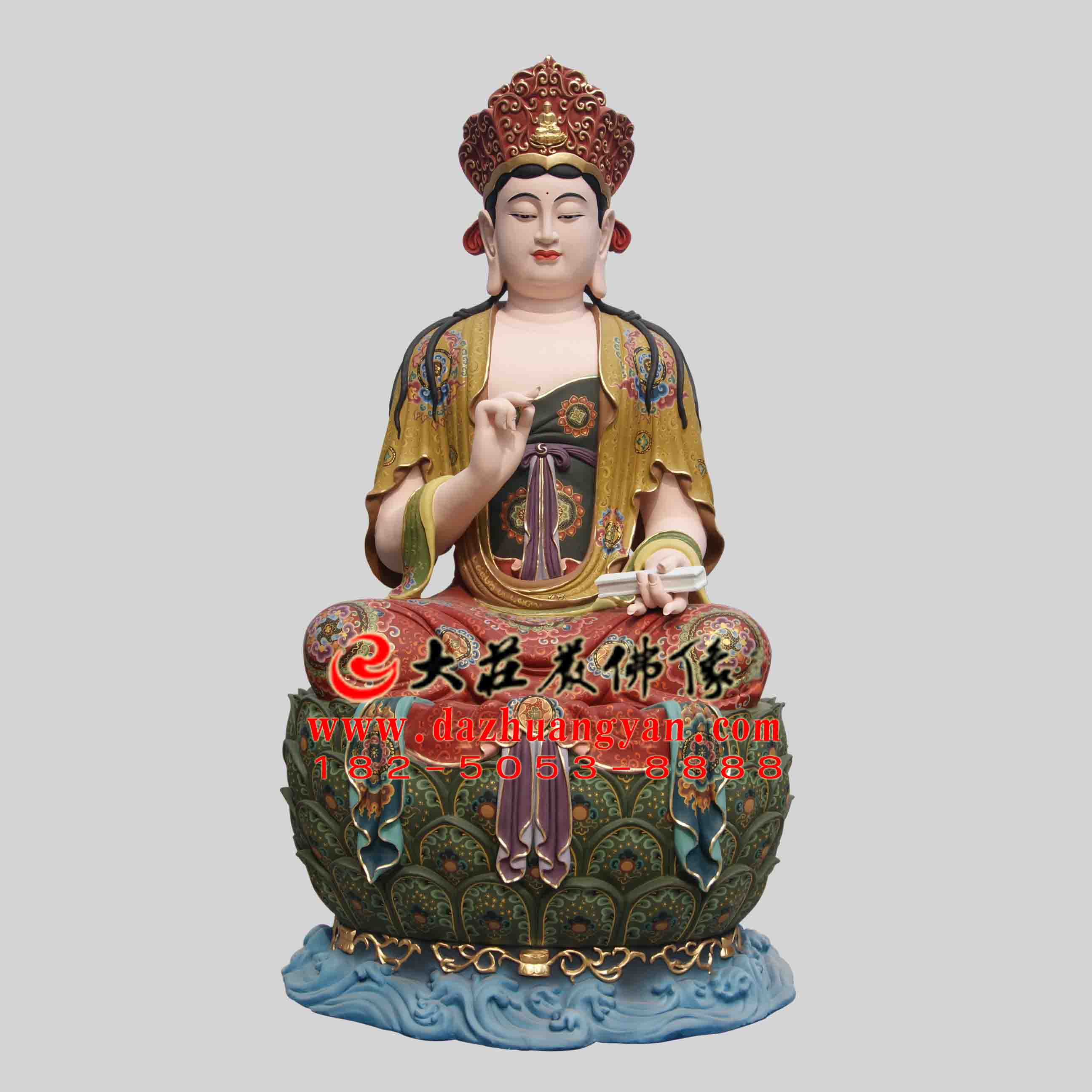 彩绘描金生漆脱胎四大菩萨之文殊菩萨塑像