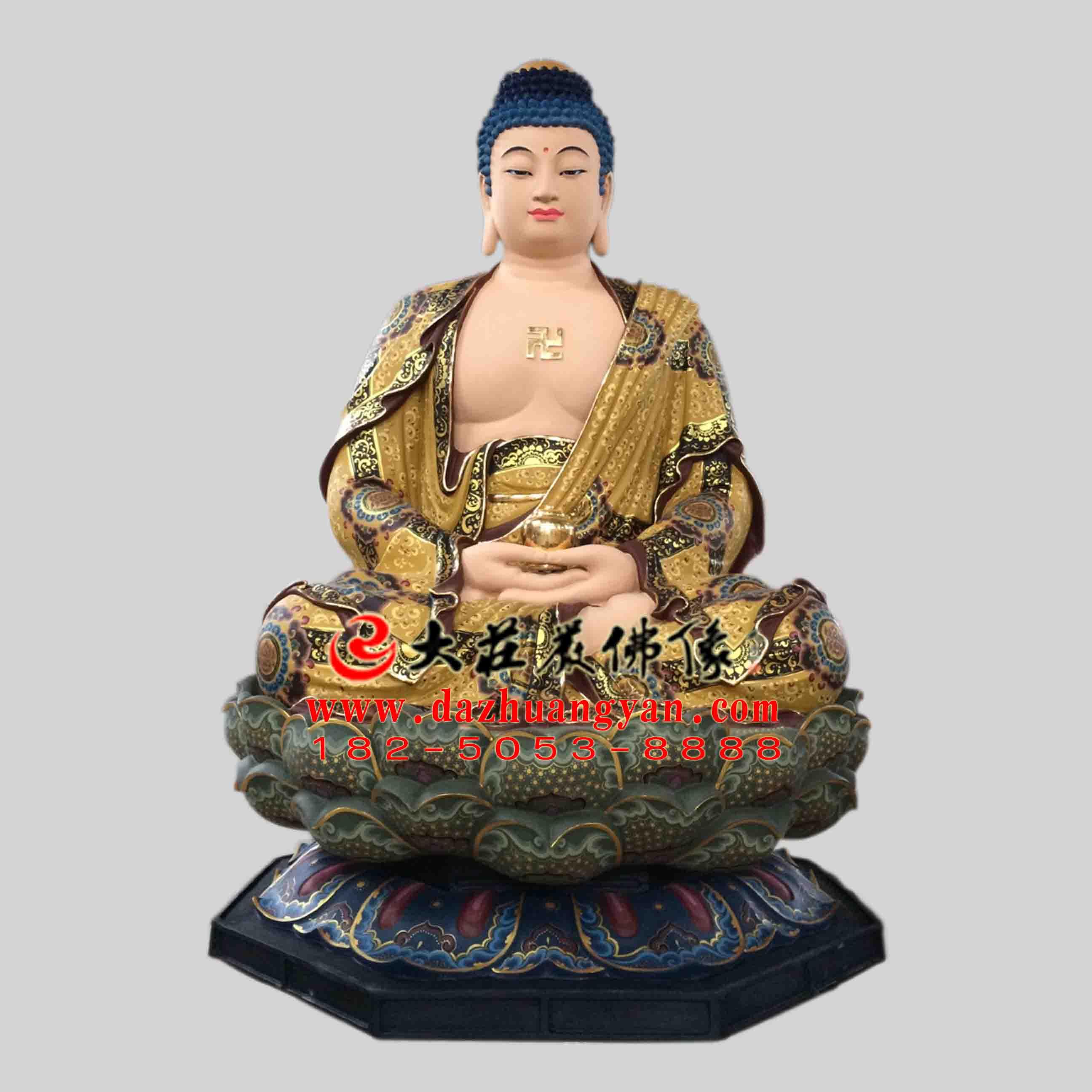 彩绘描金生漆脱胎娑婆三圣之释迦牟尼佛塑像【