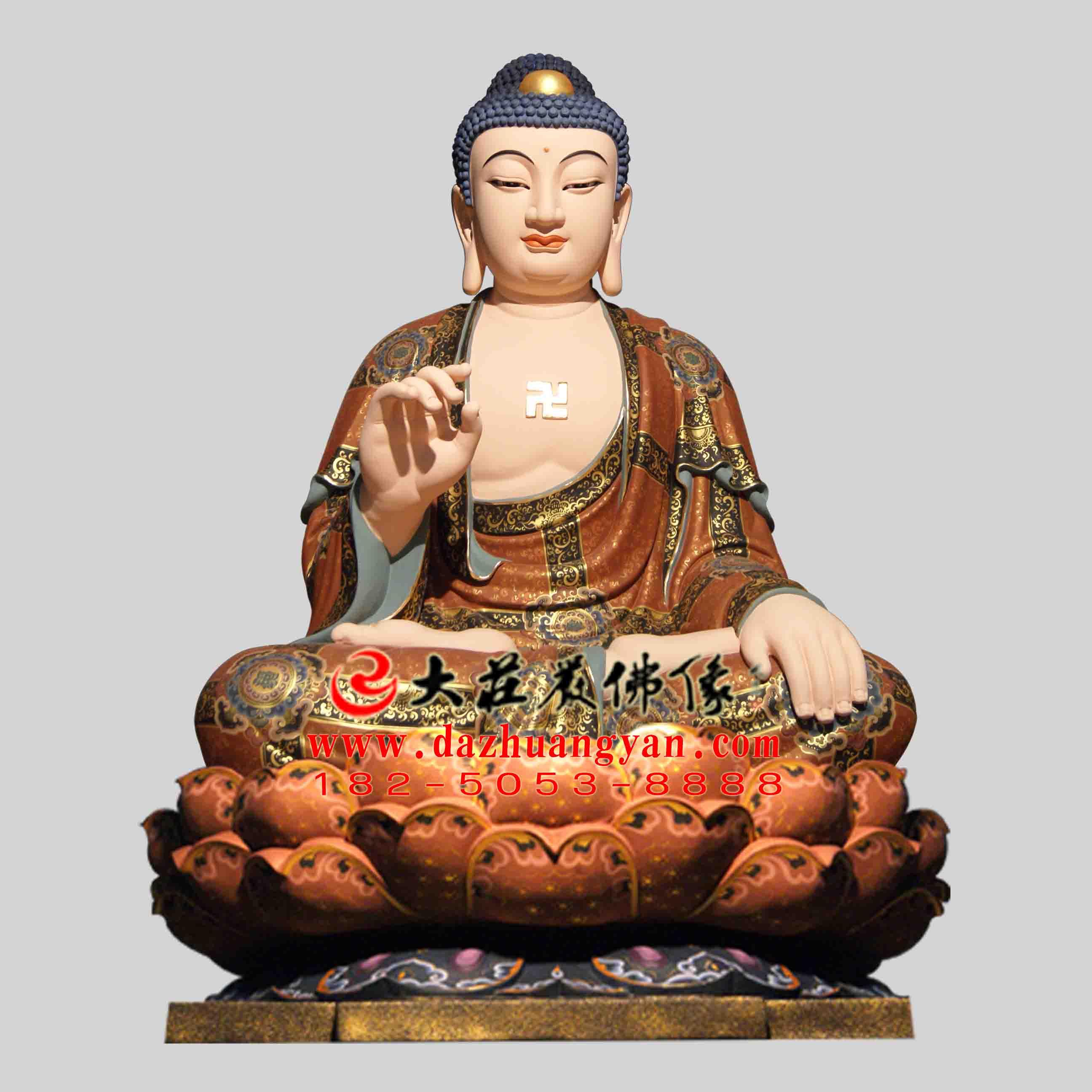 彩绘描金生漆脱胎华严三圣之释迦牟尼佛塑像【